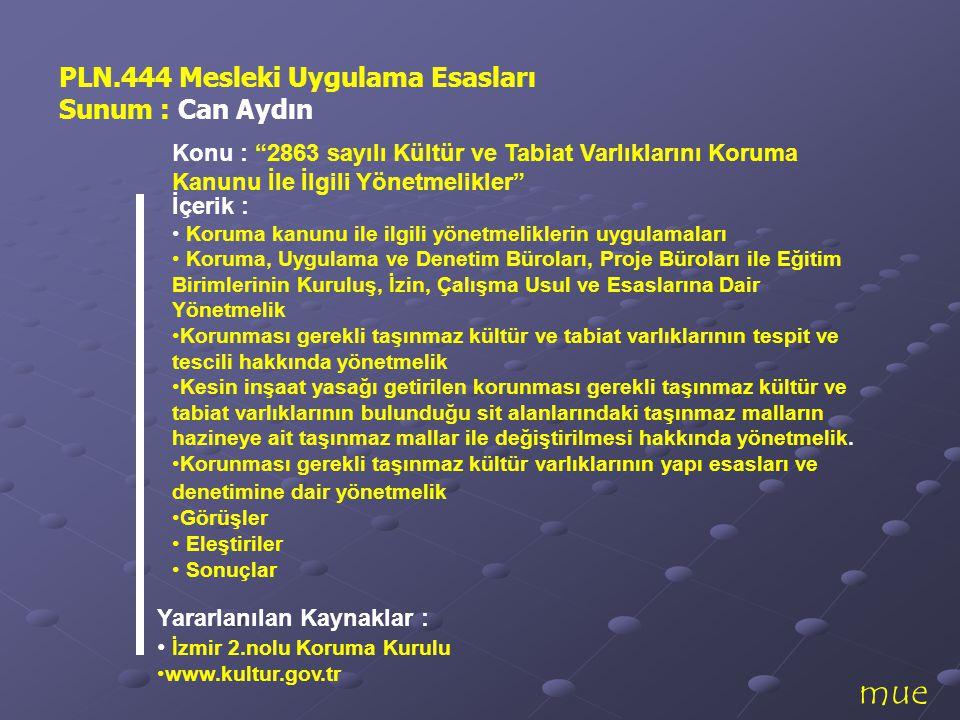 mue PLN.444 Mesleki Uygulama Esasları Sunum : Can Aydın