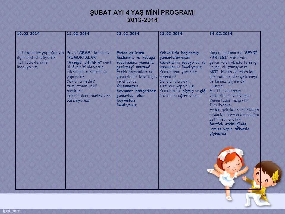ŞUBAT AYI 4 YAŞ MİNİ PROGRAMI 2013-2014