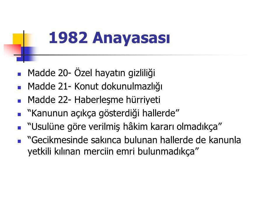 1982 Anayasası Madde 20- Özel hayatın gizliliği