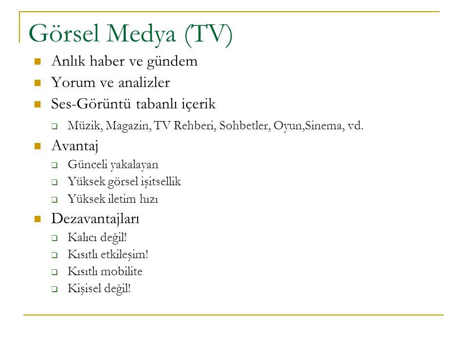 Görsel Medya (TV) Anlık haber ve gündem Yorum ve analizler