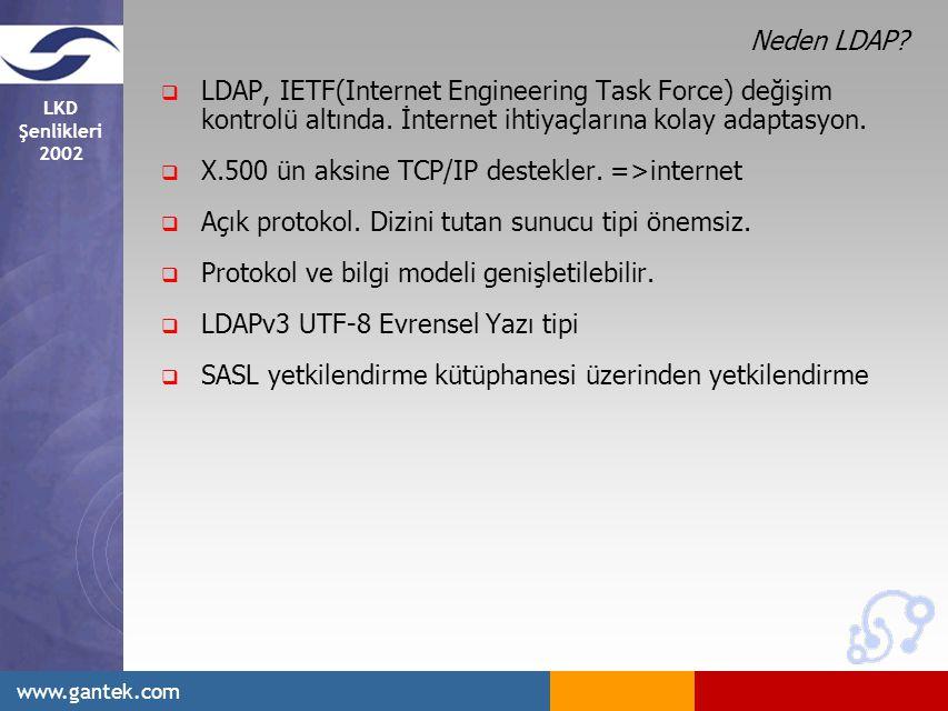 Neden LDAP LDAP, IETF(Internet Engineering Task Force) değişim kontrolü altında. İnternet ihtiyaçlarına kolay adaptasyon.