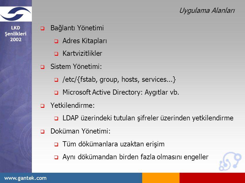 Uygulama Alanları Bağlantı Yönetimi. Adres Kitapları. Kartvizitlikler. Sistem Yönetimi: /etc/{fstab, group, hosts, services...}
