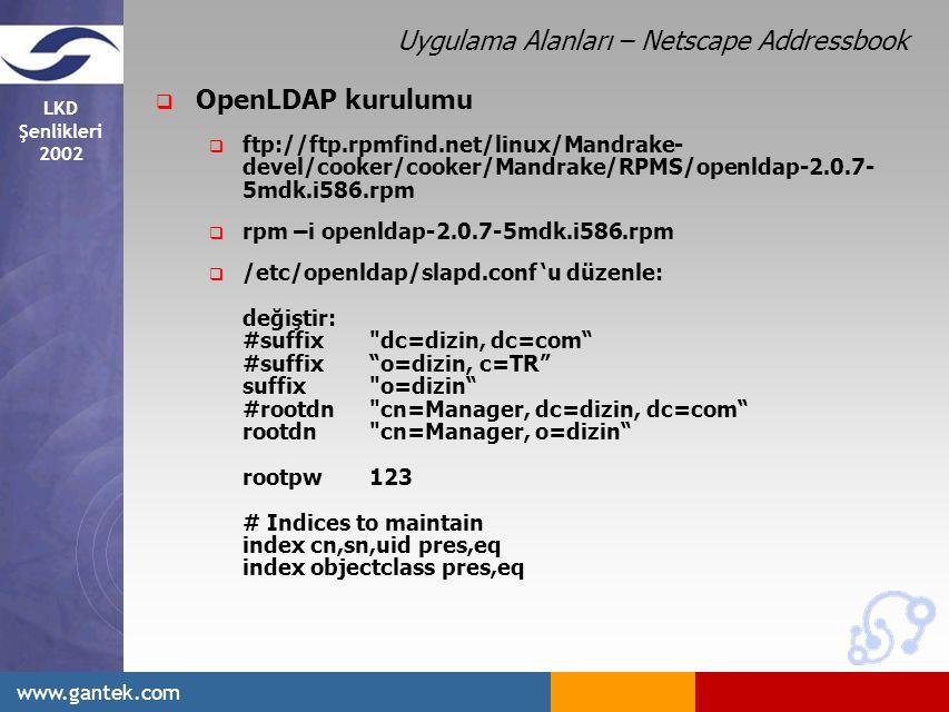Uygulama Alanları – Netscape Addressbook