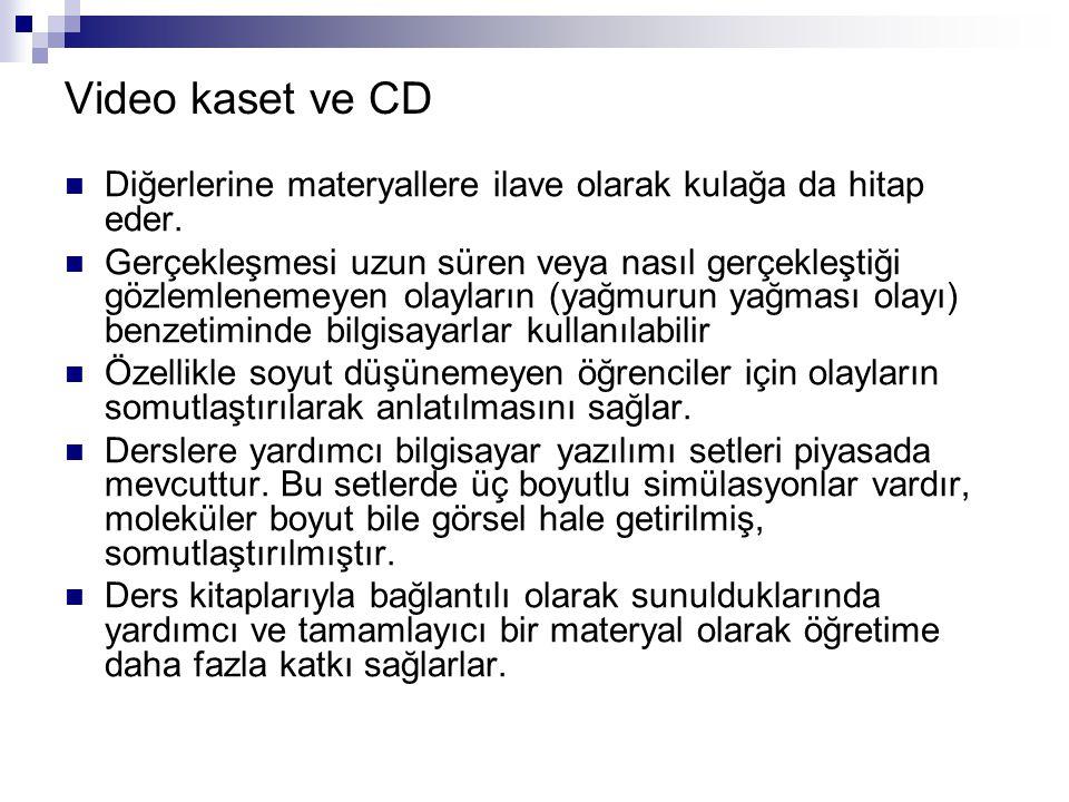 Video kaset ve CD Diğerlerine materyallere ilave olarak kulağa da hitap eder.
