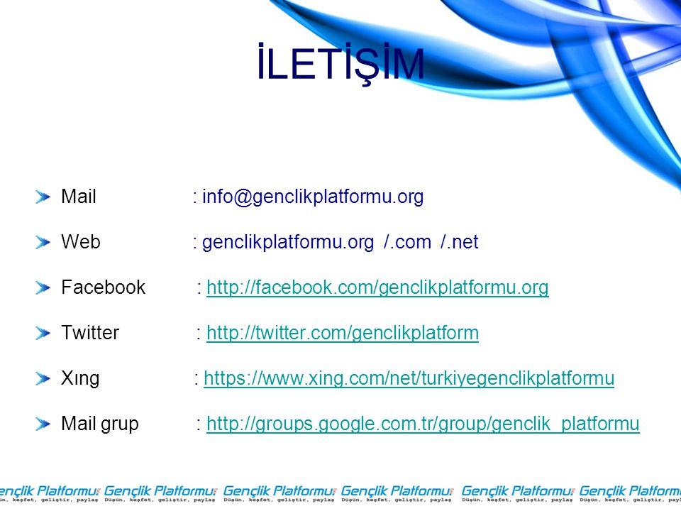 İLETİŞİM Mail : info@genclikplatformu.org
