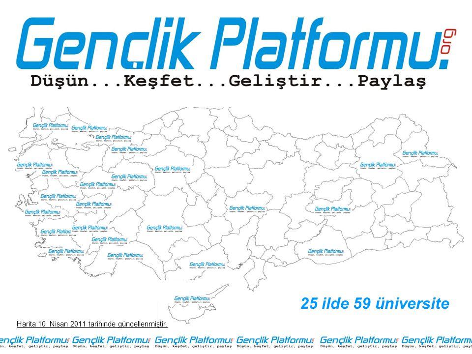 25 ilde 59 üniversite Harita 10 Nisan 2011 tarihinde güncellenmiştir.