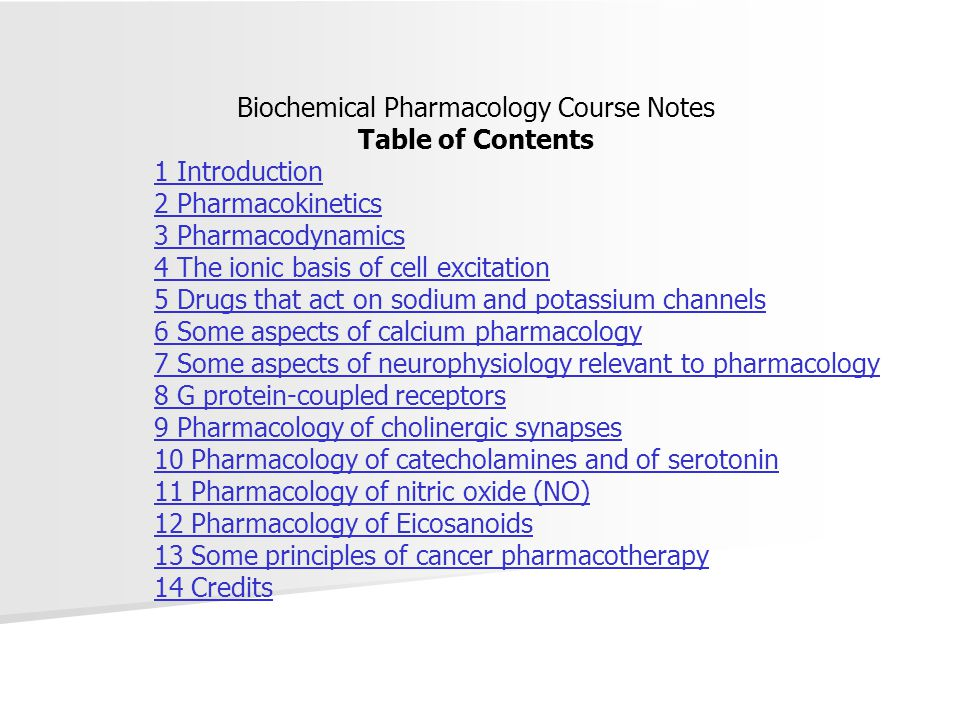 Biochemical Pharmacology Course Notes