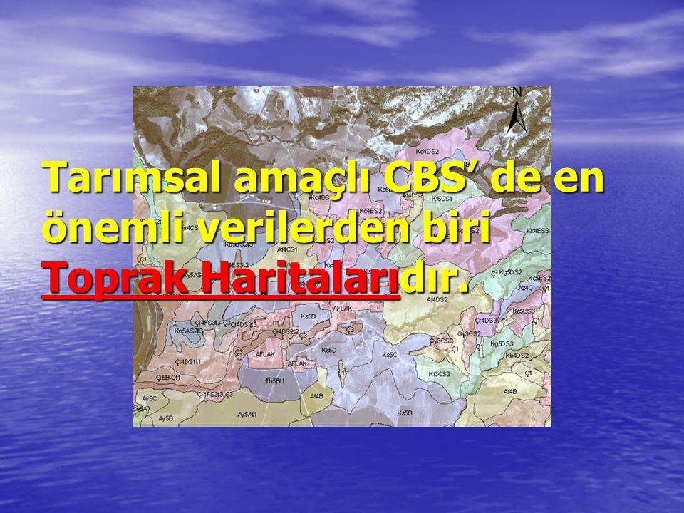 Tarımsal amaçlı CBS' de en önemli verilerden biri Toprak Haritalarıdır.