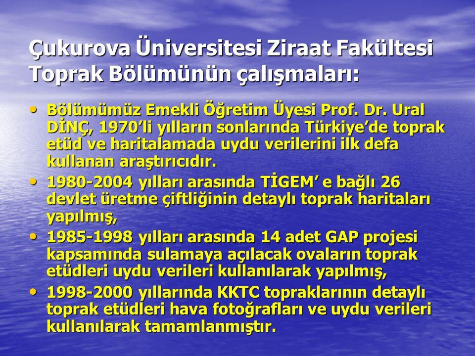 Çukurova Üniversitesi Ziraat Fakültesi Toprak Bölümünün çalışmaları: