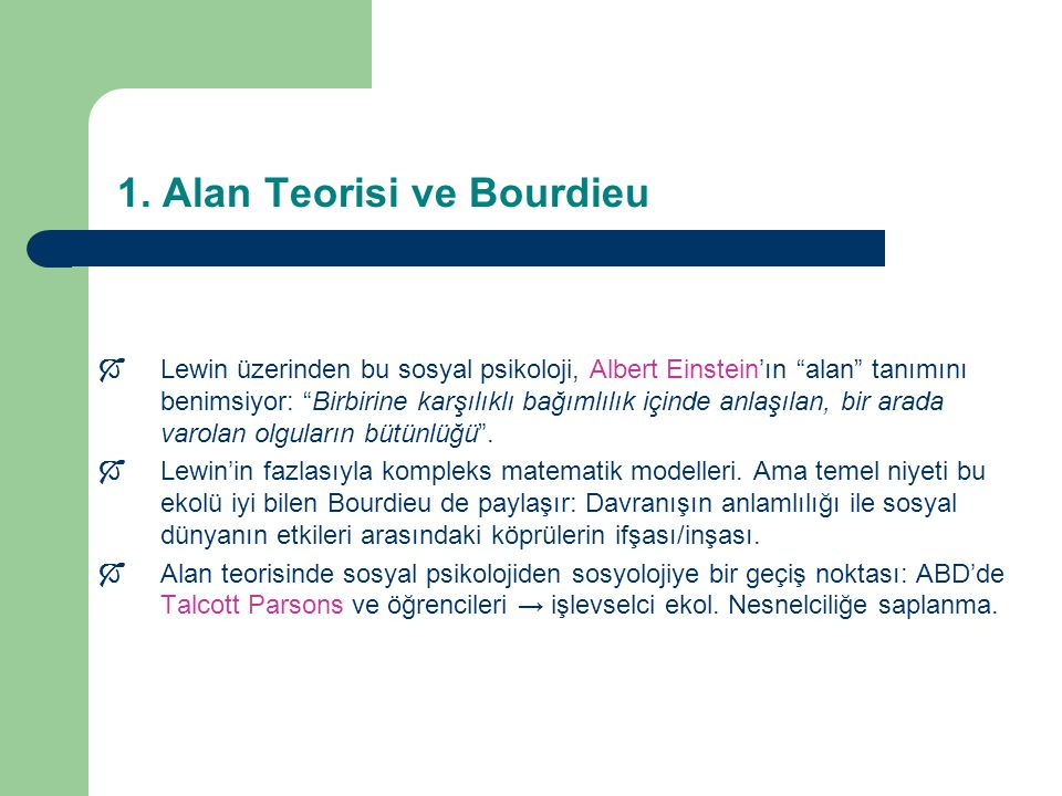 1. Alan Teorisi ve Bourdieu