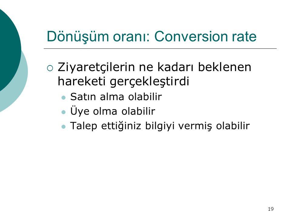 Dönüşüm oranı: Conversion rate