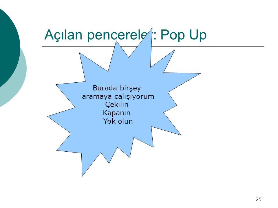 Açılan pencereler: Pop Up