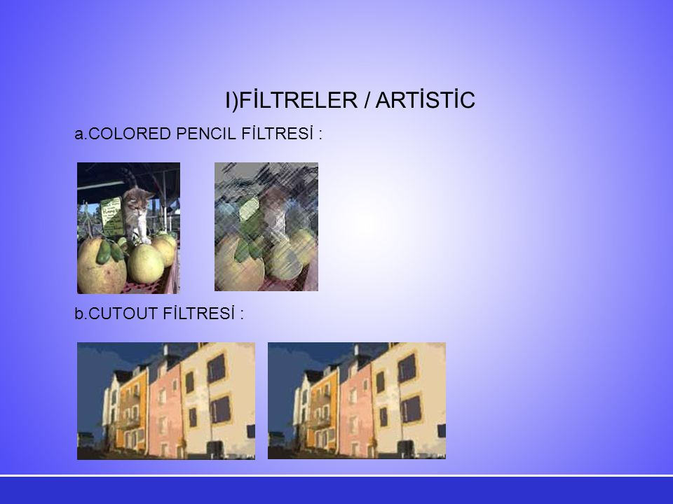 FİLTRELER / ARTİSTİC COLORED PENCIL FİLTRESİ : b.CUTOUT FİLTRESİ :