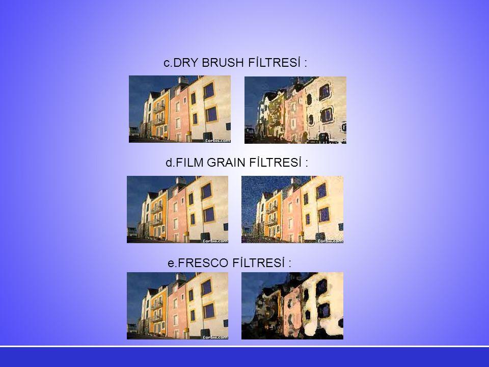 c.DRY BRUSH FİLTRESİ : d.FILM GRAIN FİLTRESİ : e.FRESCO FİLTRESİ :