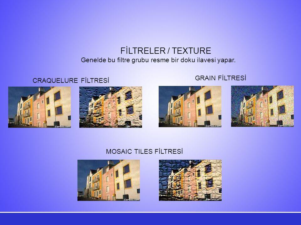 Genelde bu filtre grubu resme bir doku ilavesi yapar.