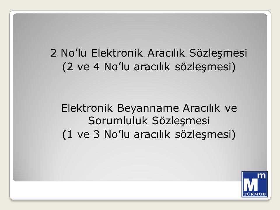 2 No'lu Elektronik Aracılık Sözleşmesi (2 ve 4 No'lu aracılık sözleşmesi) Elektronik Beyanname Aracılık ve Sorumluluk Sözleşmesi (1 ve 3 No'lu aracılık sözleşmesi)