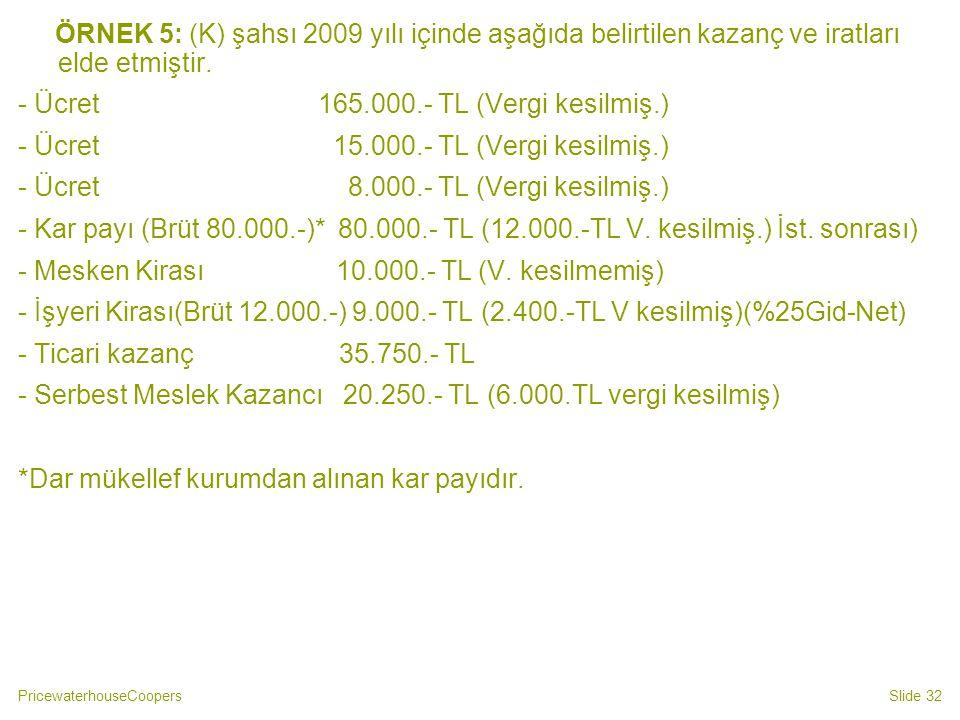 ÖRNEK 5: (K) şahsı 2009 yılı içinde aşağıda belirtilen kazanç ve iratları elde etmiştir.