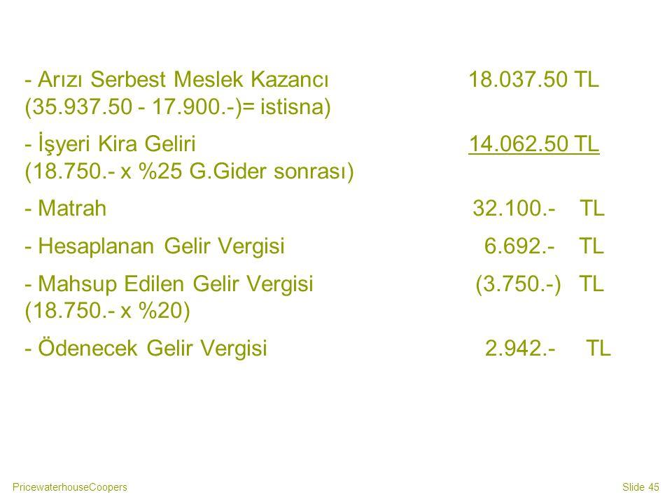 - Arızı Serbest Meslek Kazancı 18. 037. 50 TL (35. 937. 50 - 17. 900