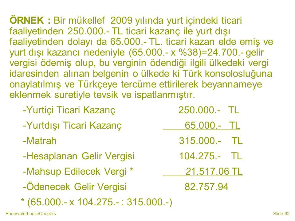 -Yurtiçi Ticari Kazanç 250.000.- TL