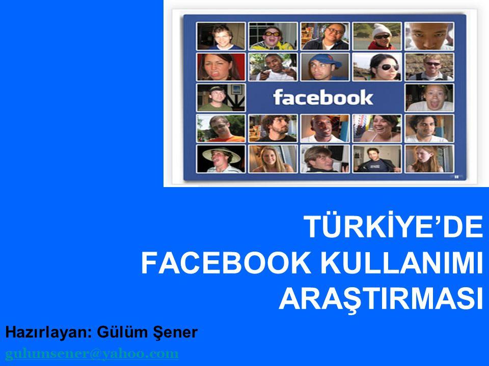 TÜRKİYE'DE FACEBOOK KULLANIMI ARAŞTIRMASI