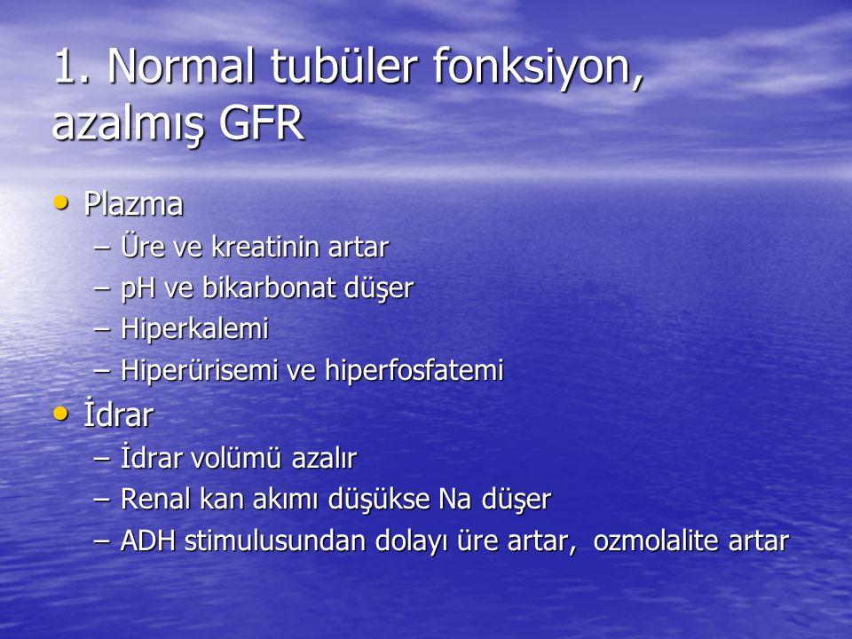 1. Normal tubüler fonksiyon, azalmış GFR