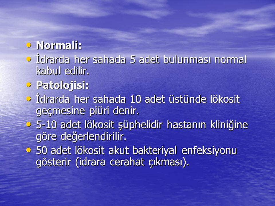 Normali: İdrarda her sahada 5 adet bulunması normal kabul edilir. Patolojisi: İdrarda her sahada 10 adet üstünde lökosit geçmesine piüri denir.