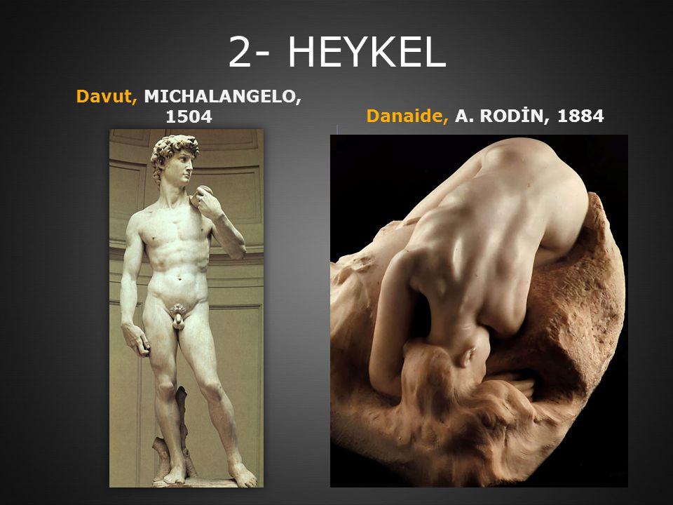 2- HEYKEL Davut, MICHALANGELO, 1504 Danaide, A. RODİN, 1884