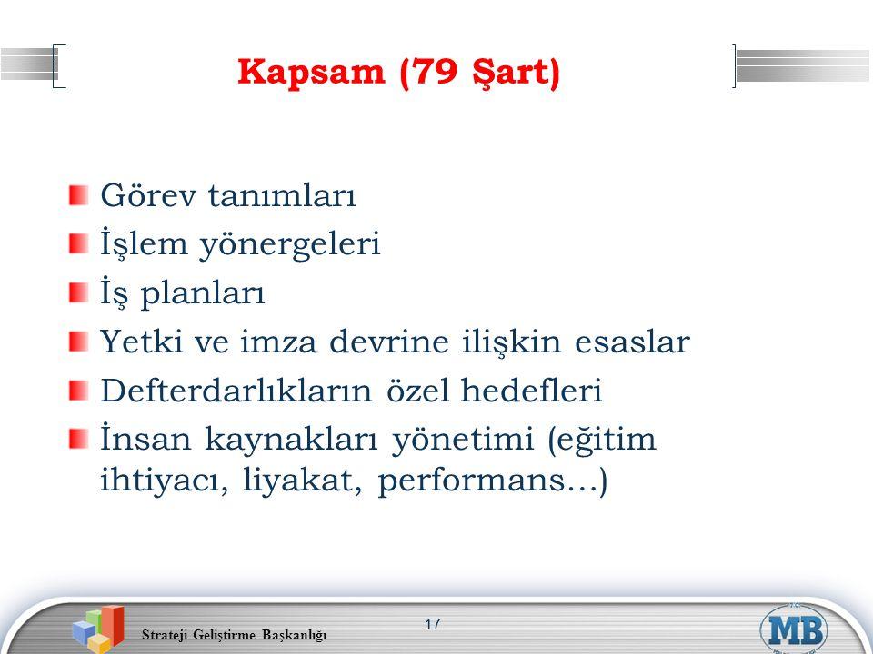 Kapsam (79 Şart) Görev tanımları İşlem yönergeleri İş planları