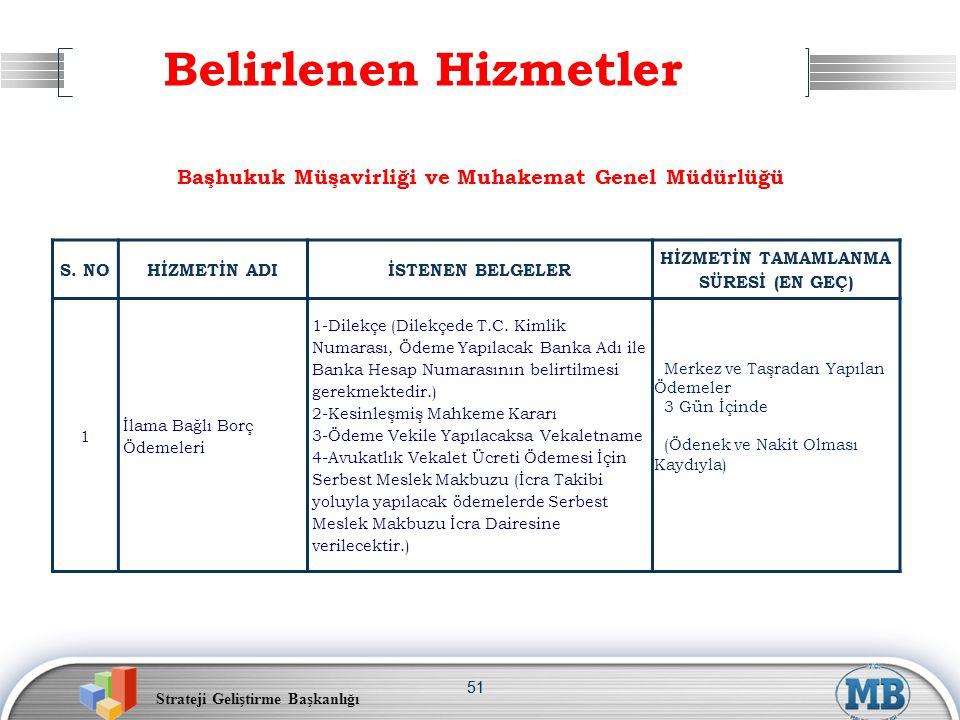 Belirlenen Hizmetler Başhukuk Müşavirliği ve Muhakemat Genel Müdürlüğü
