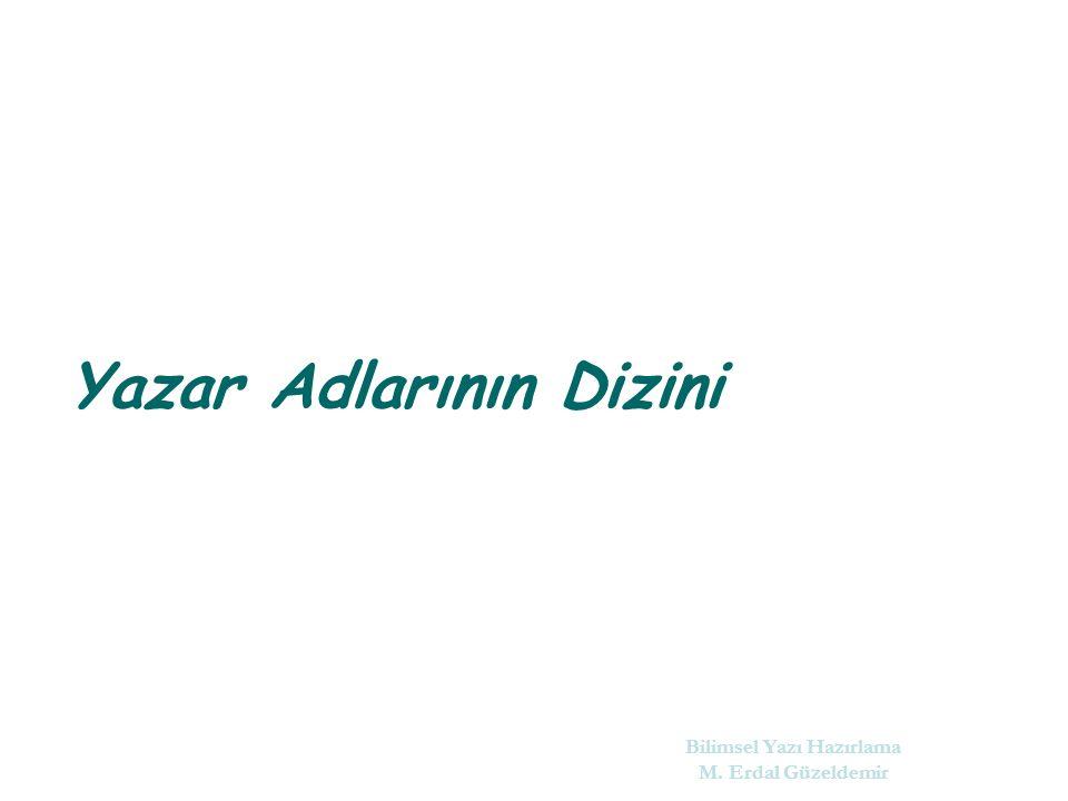 Yazar Adlarının Dizini