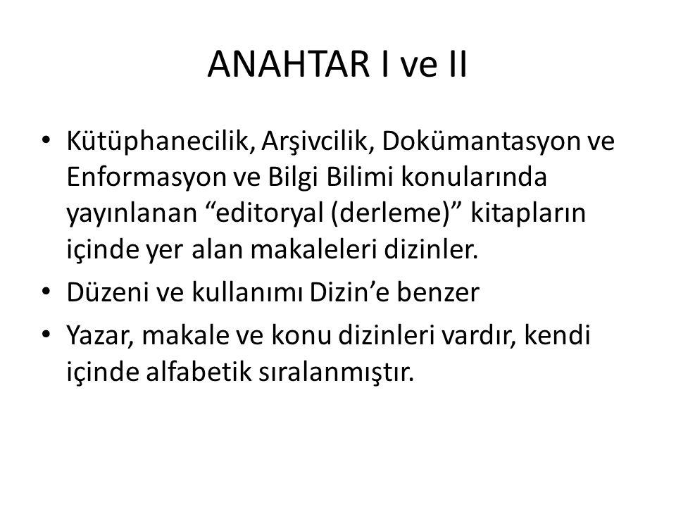 ANAHTAR I ve II