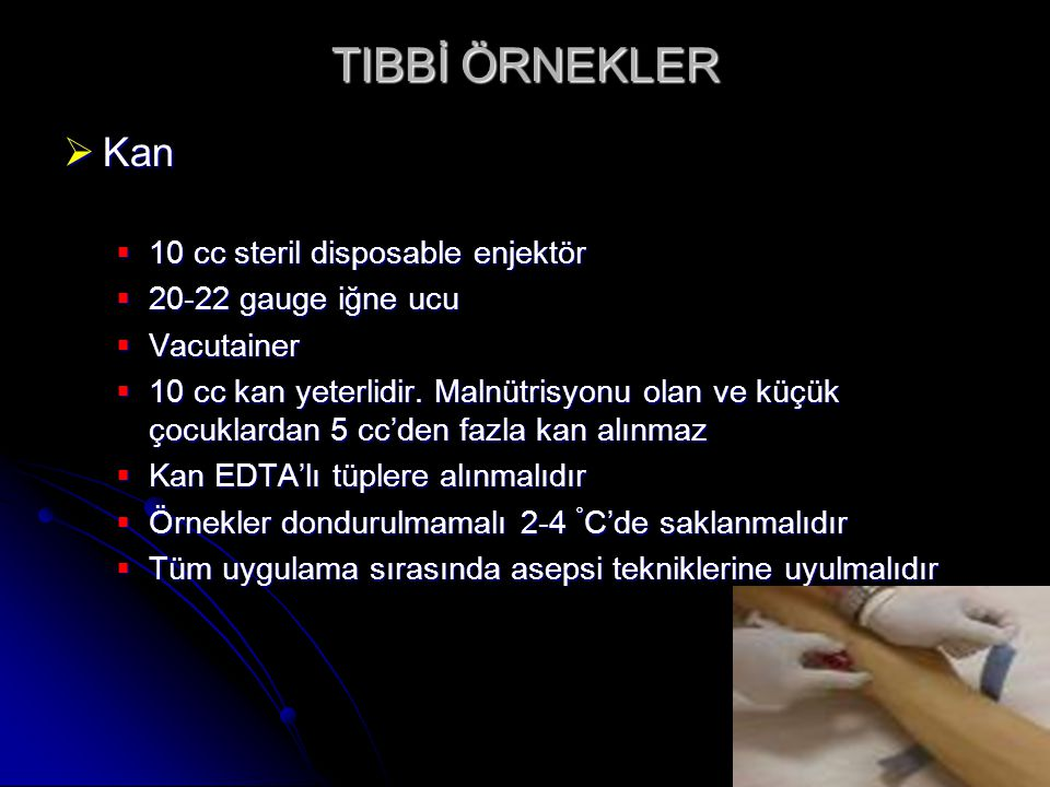 TIBBİ ÖRNEKLER Kan 10 cc steril disposable enjektör