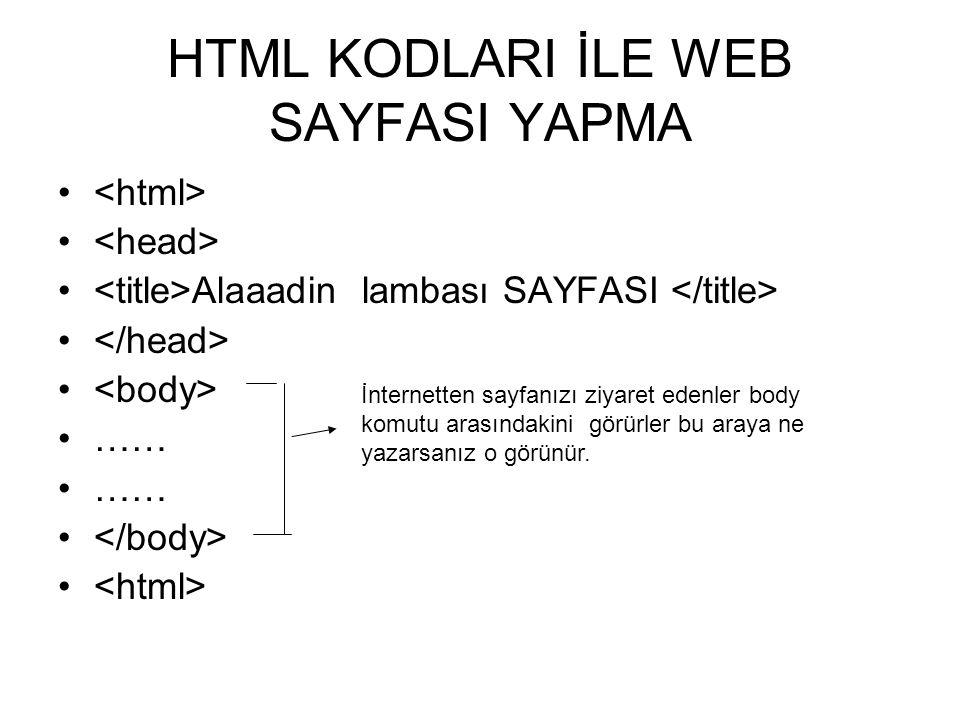 HTML KODLARI İLE WEB SAYFASI YAPMA