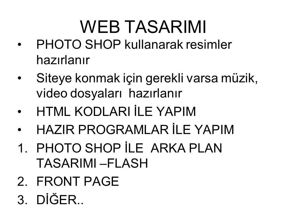 WEB TASARIMI PHOTO SHOP kullanarak resimler hazırlanır