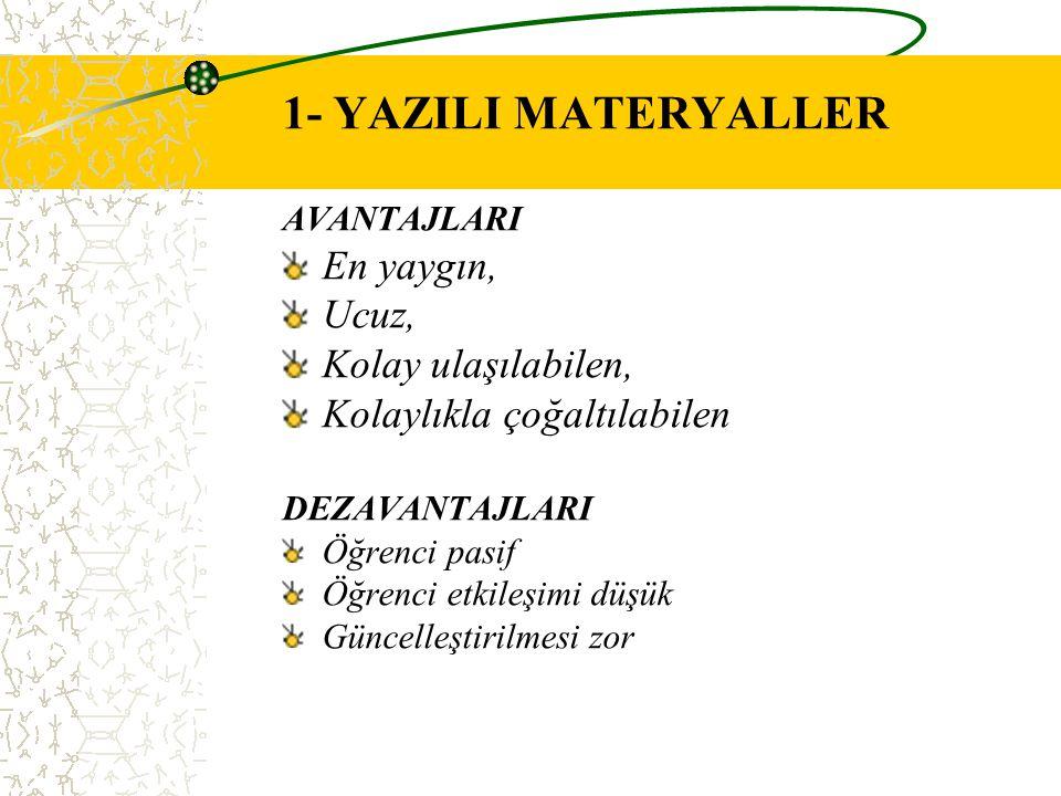 1- YAZILI MATERYALLER En yaygın, Ucuz, Kolay ulaşılabilen,
