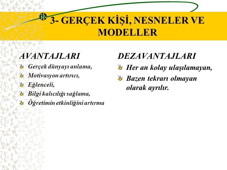 3- GERÇEK KİŞİ, NESNELER VE MODELLER