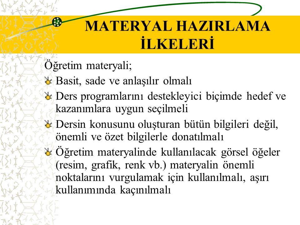 MATERYAL HAZIRLAMA İLKELERİ