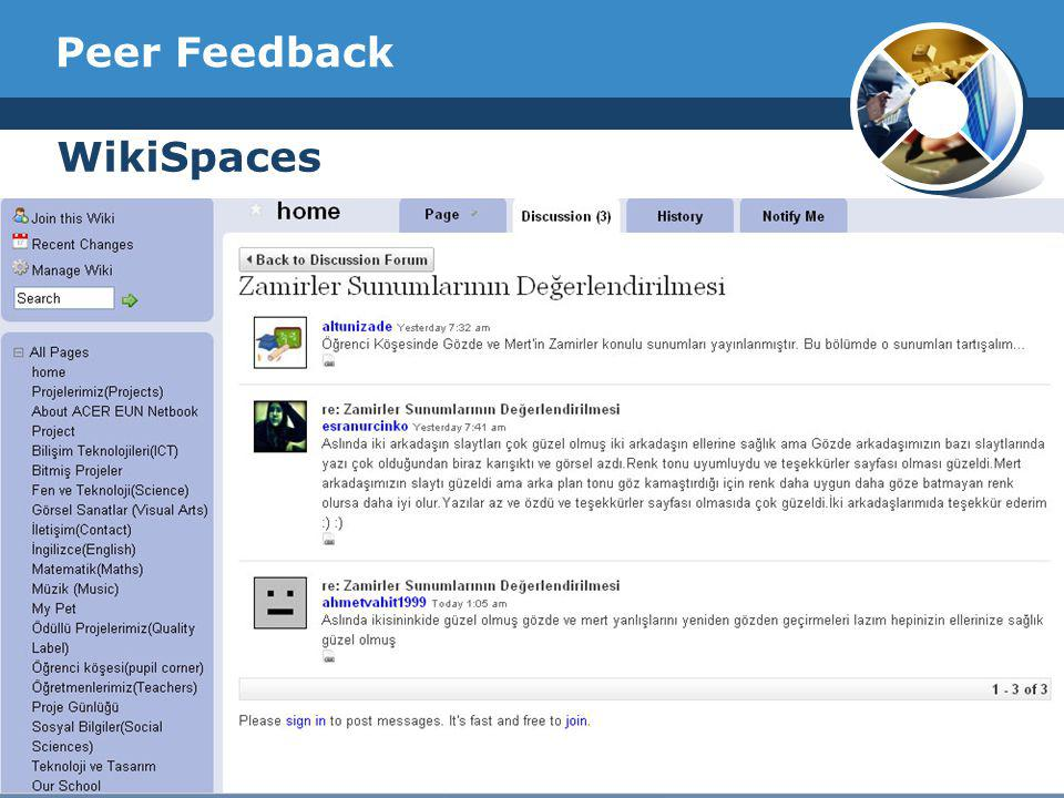 Peer Feedback WikiSpaces Company Logo