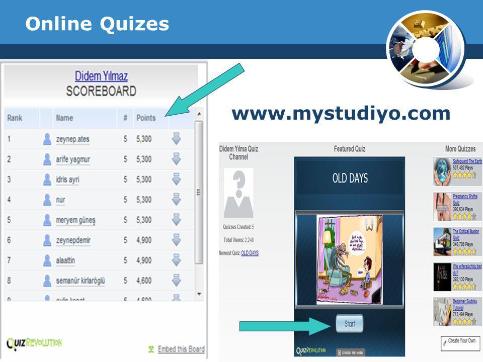 Online Quizes www.mystudiyo.com Company Logo