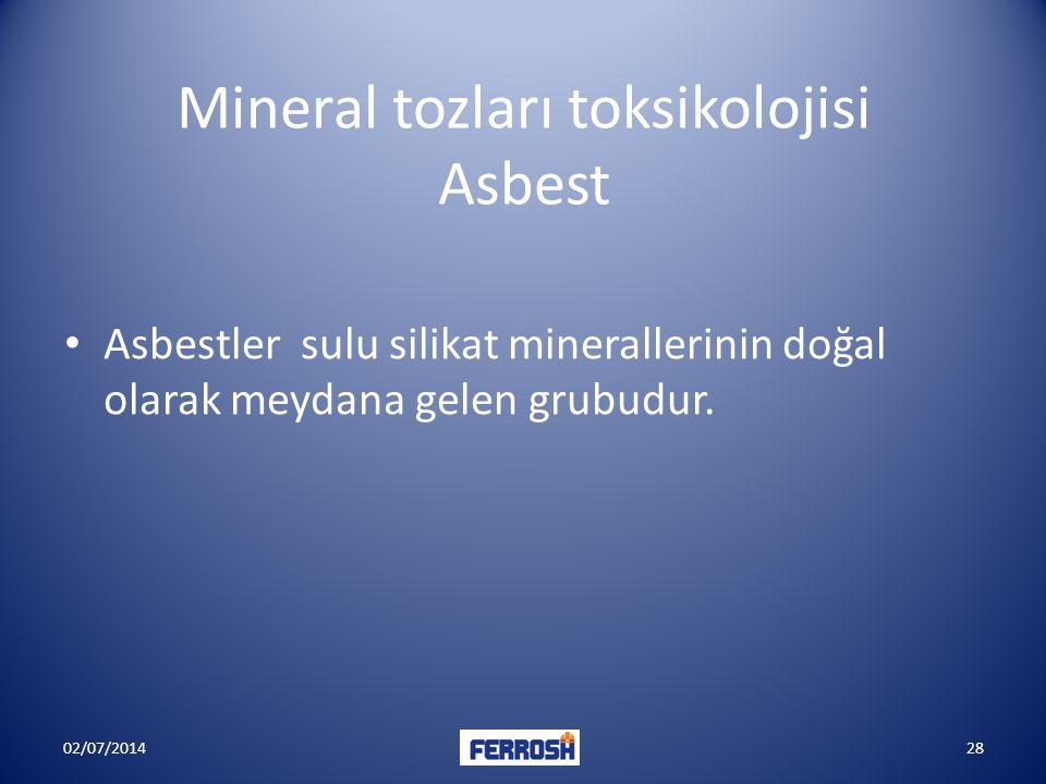 Mineral tozları toksikolojisi Asbest