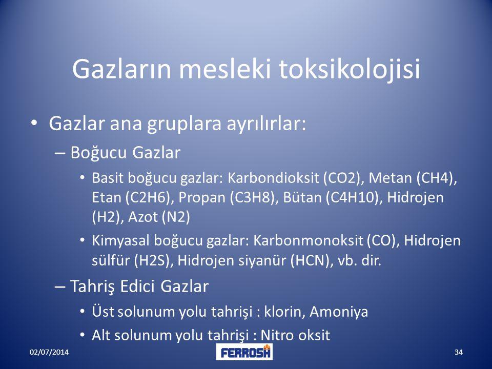 Gazların mesleki toksikolojisi