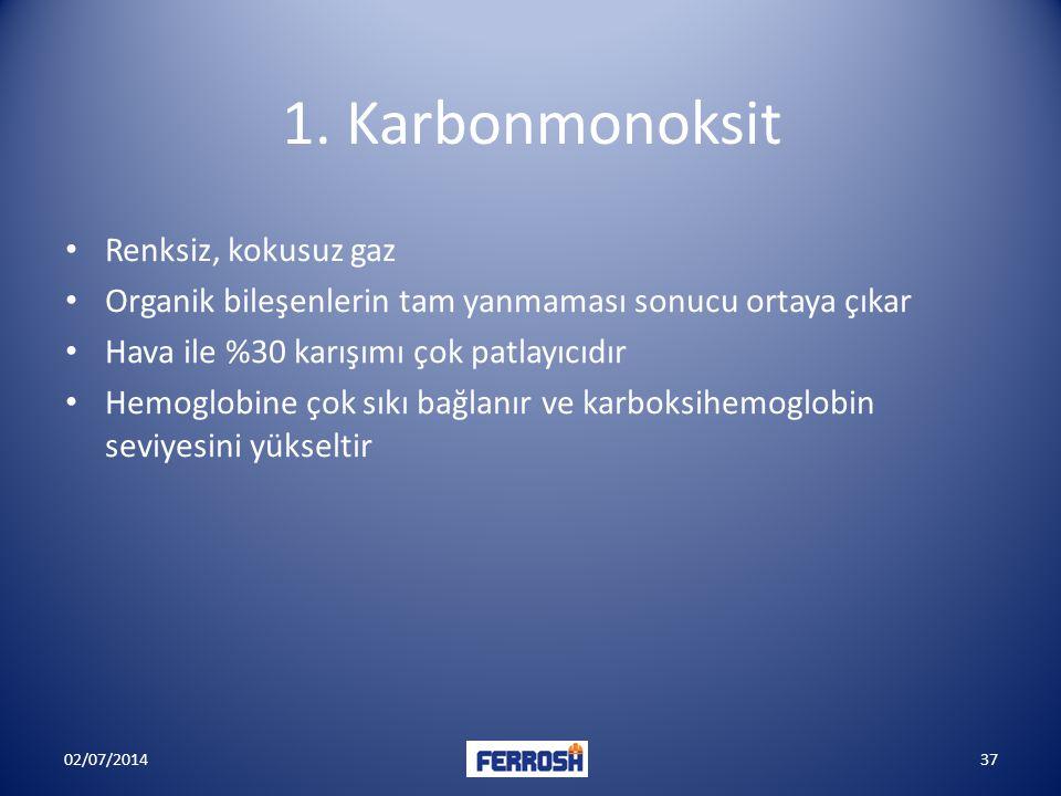 1. Karbonmonoksit Renksiz, kokusuz gaz