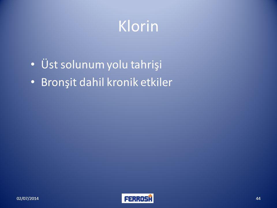 Klorin Üst solunum yolu tahrişi Bronşit dahil kronik etkiler