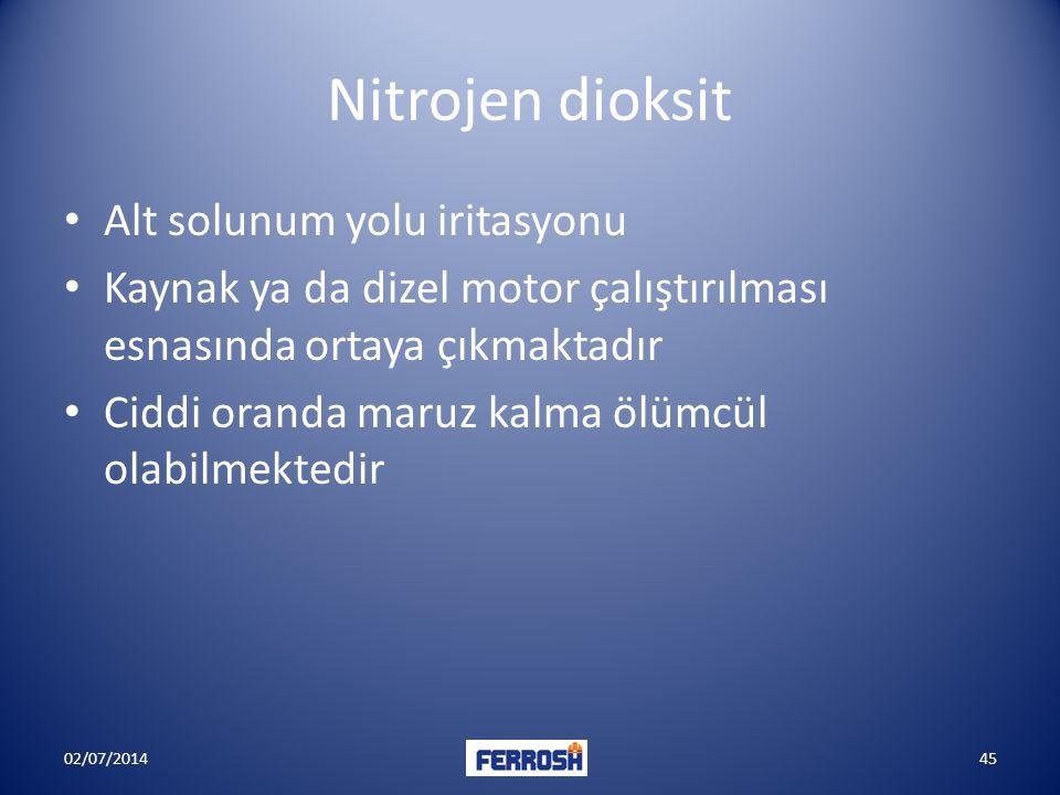 Nitrojen dioksit Alt solunum yolu iritasyonu
