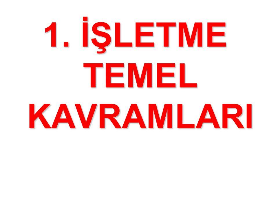 1. İŞLETME TEMEL KAVRAMLARI
