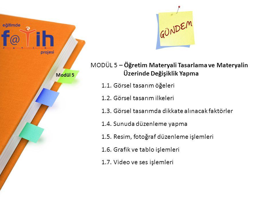 MODÜL 5 – Öğretim Materyali Tasarlama ve Materyalin
