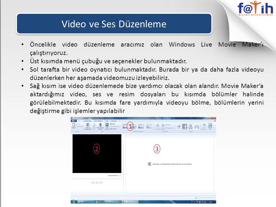 Video ve Ses Düzenleme Öncelikle video düzenleme aracımız olan Windows Live Movie Maker'ı çalıştırıyoruz.