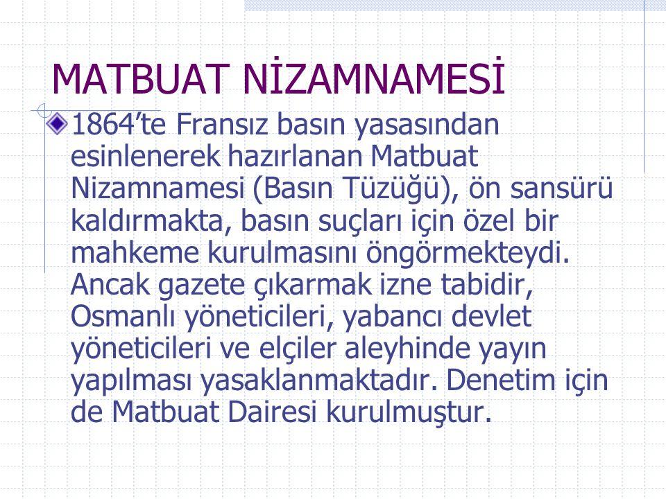 MATBUAT NİZAMNAMESİ
