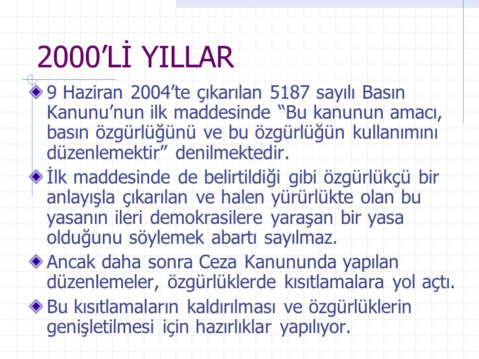 2000'Lİ YILLAR