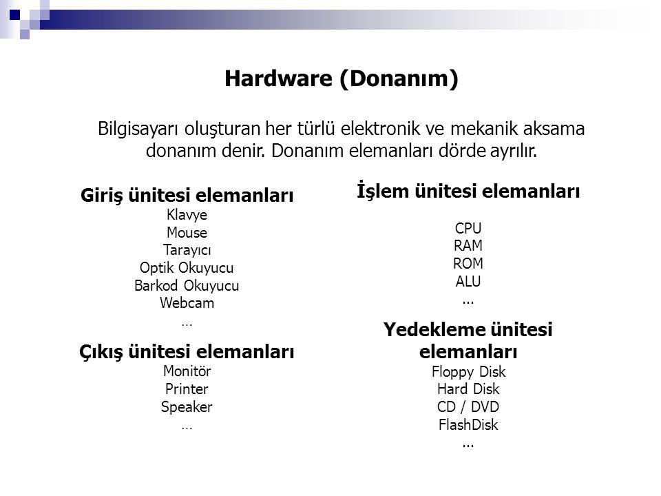 Hardware (Donanım) Bilgisayarı oluşturan her türlü elektronik ve mekanik aksama donanım denir. Donanım elemanları dörde ayrılır.